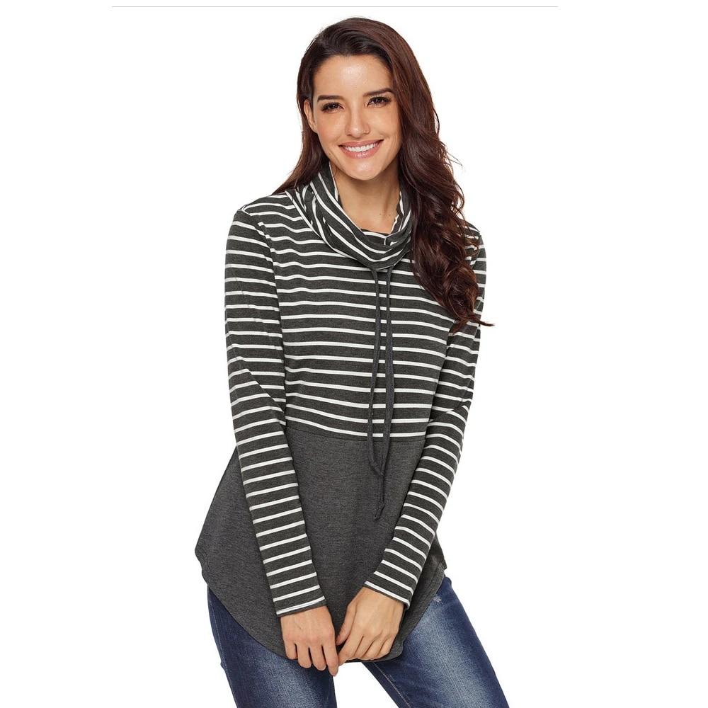 Women Color Block Splicing Drawstring Sweatshirt Casual Pullover Cowl Neck Hoodie Tops Pullover