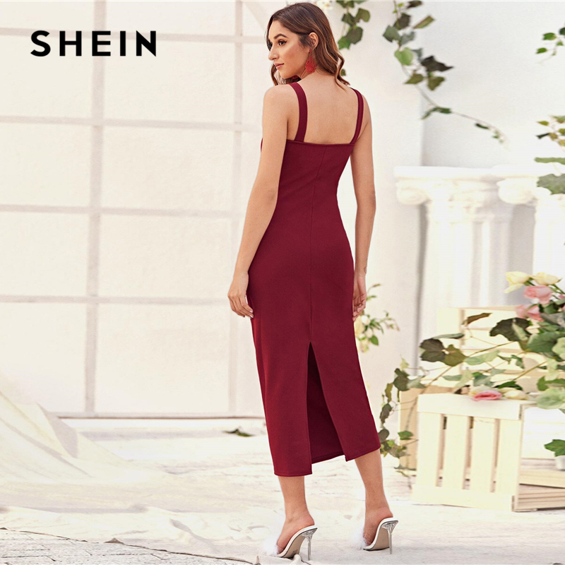 SHEIN Burgundy Split Detail Fitted Cami Dress Women Summer Solid Sleeveless Straps Fitted Elegant Long Dresses 2