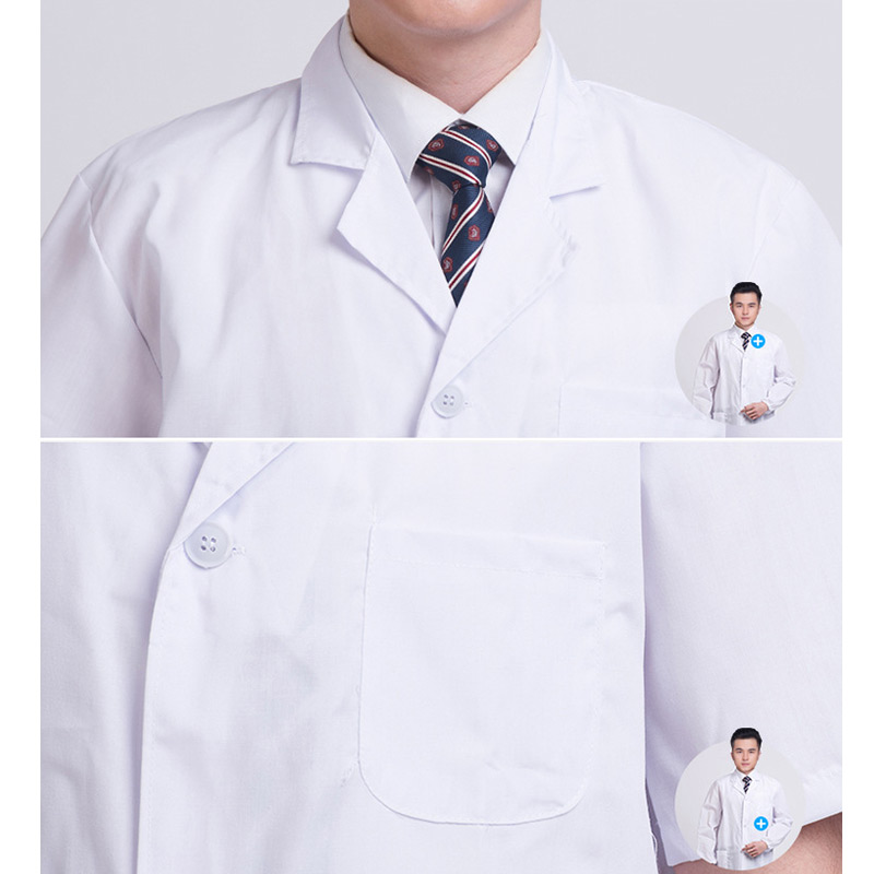 New Summer Unisex White Lab Coat Short Sleeve Pockets Uniform Work Wear Doctor Nurse Clothing SCI88