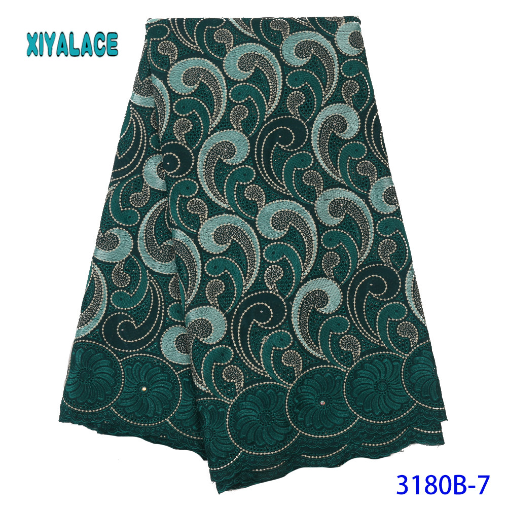 Latest Green African Net Lace Fabric For Wedding Dress Embroidered Nigerian Lace Swiss Voile Lace In Switzerland YA3180B-7
