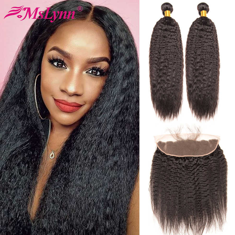 Kinky Straight Hair Bundles With Frontal Brazilian Hair Weave Bundles With Closure Human Hair Bundles With Closure Mslynn Remy