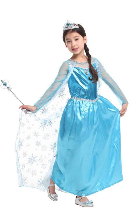 Одежда для детей на Хэллоуин платье принцессы «Холодное сердце» платье с длинными рукавами для девочек костюм Анны и Эльзы вечерние платья