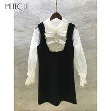 Beyaz dantel yamalı siyah elbise ile boncuk düğmeler 2019 ön sonbahar moda uzun kollu kısa elbise 2019 sonbahar kış