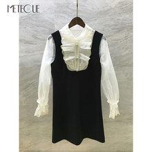 Laço branco remendado vestido preto com botões de miçangas 2019 pré queda moda manga longa vestido curto 2019 outono inverno