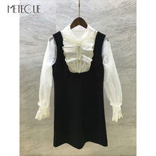 White Lace Patched Black Dress with Beading Buttons 2019 Pre Fall Fashion Long Sleeve Short Dress 2019 Autumn Winter