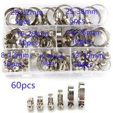 Pince de serrage pour tuyau en acier inoxydable, de différentes tailles, 8mm à 38mm, 60 à pièces/boîte, outil de fixation pour tuyaux pour lautomobile