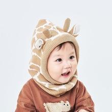 Winter Hat Helmet Boy Girl Giraffe Cow Knit Beanie Kid Autumn Earflap Warm Skiing Cotton Fleece Outdoor Accessory Toddler Baby