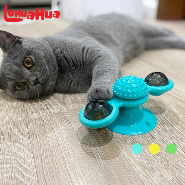 Cat Windmill Toy Funny Massage Rotatable Cat Toys With Catnip LED Ball Teeth Cleaning Pet Products for Free Shipping