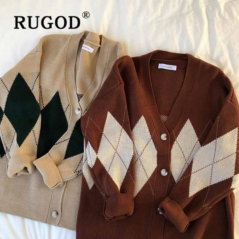RUGOD New Autumn Vintage Plaid Pattern Sweater Cardigans For Women V Neck Single Breasted Loose Knitted Coat Korean Chic Sweater