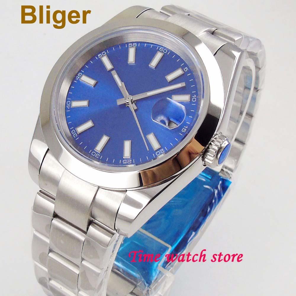40mm Bliger Automatic wrist watch men Luminous waterproof Royal blue dial sapphire glass Date polished bezel 161