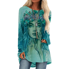 Women Vintage Girl With Garland Printing Tshirt Harajuku 2020 Autumn New Plus Size Elegant Top T shirt Long Sleeve Casual Shirts