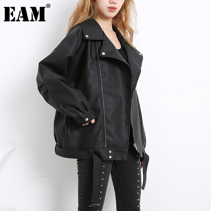 [EAM] Loose Fit black pu leather big size Jacket New Lapel Long Sleeve Women Coat Fashion Tide Spring Autumn 2020 LA93801L 1