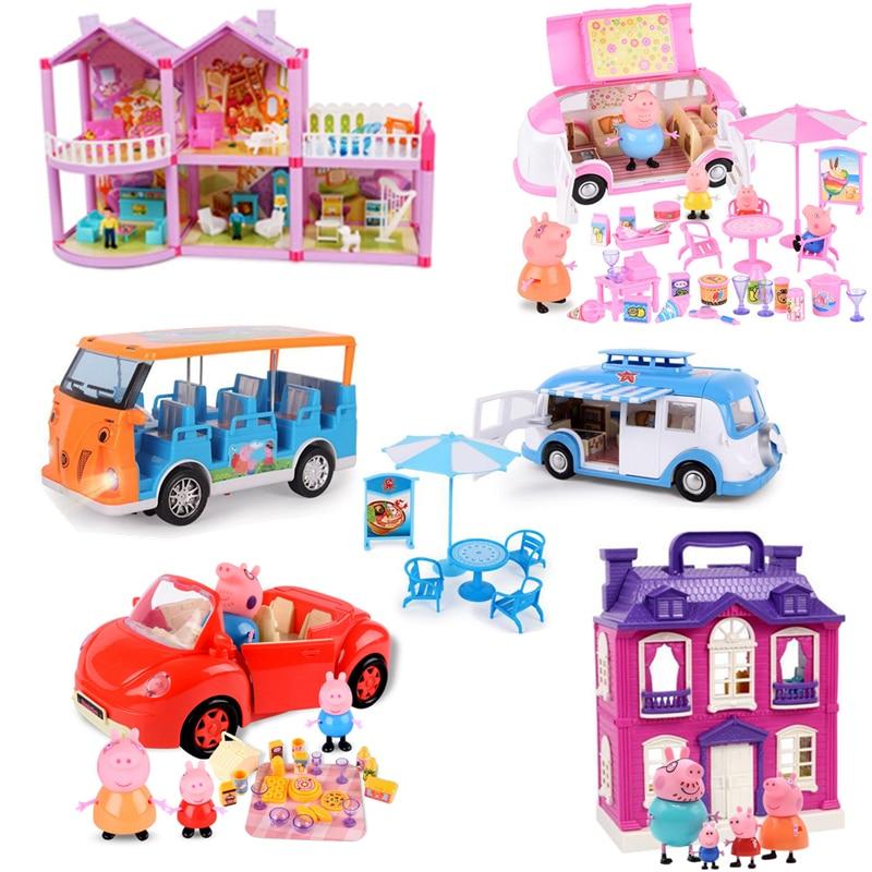 Peppa pig Brinquedos George Station wagon Carro Figura de Ação Original Anime brinquedos para as crianças Da Família Dos Desenhos Animados Amigo Presente de Aniversário Do Partido
