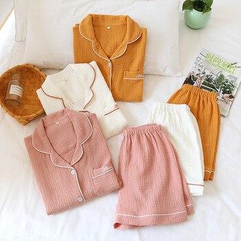 Couple 100% Cotton Pajamas For Women Summer Short Sleeve Tops + Shorts Men Home Suit Solid Loose Homewear Female Sleepwear Set - discount item  55% OFF Women's Sleep & Lounge
