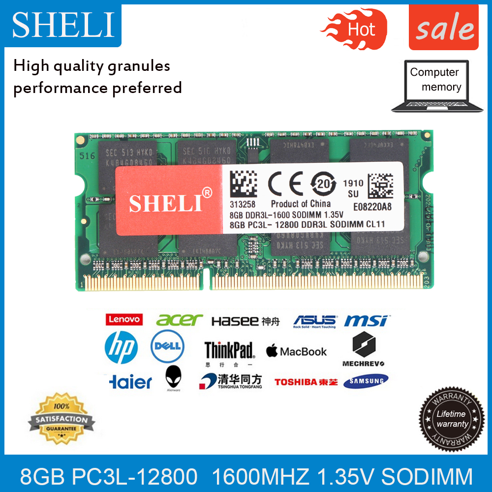 SHELI <font><b>8GB</b></font> 16GB PC3L-12800S/1600Mhz DDR3L CL11 204-PIN 1.35V RAM <font><b>SODIMM</b></font> Laptop Memory image