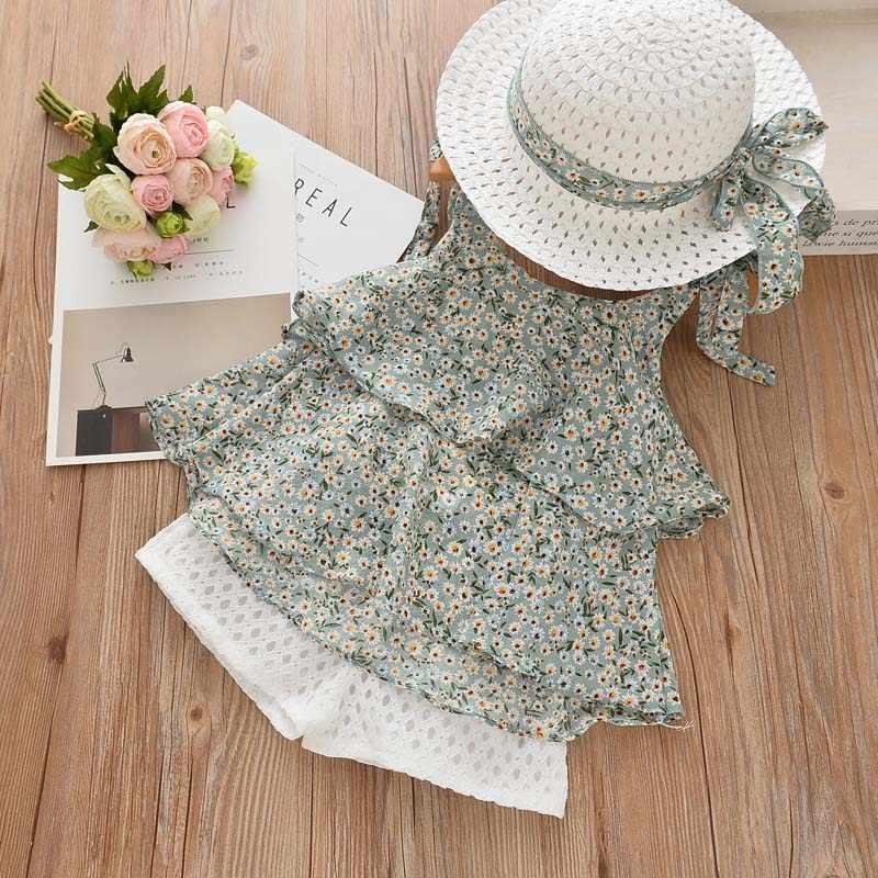 Menoea 2020 جديد الصيف الفتيات الأخضر أكمام ملابس الاطفال الأزهار الأطفال ملابس فتاة بلايز + قصيرة بانت 2 قطعة الدعاوى