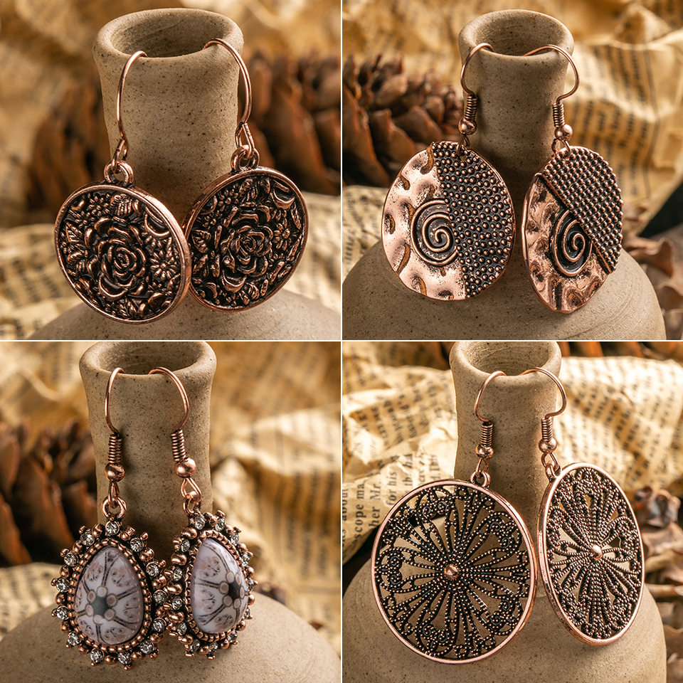 Vintage Ethnic Boho Bohemian Rose Golden Round Butterfly Dangling Hanging Drop Earrings For Female Women's Wedding Jewelry Gifts