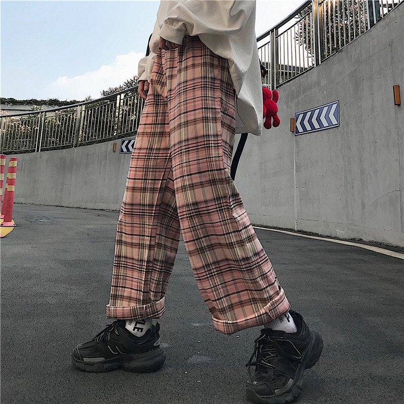 Harajuku Plaid Autumn Thin Loose Pants Women Pink Full Length Trousers Streetwear BF Style Pantalones Mujer 2020   Spring