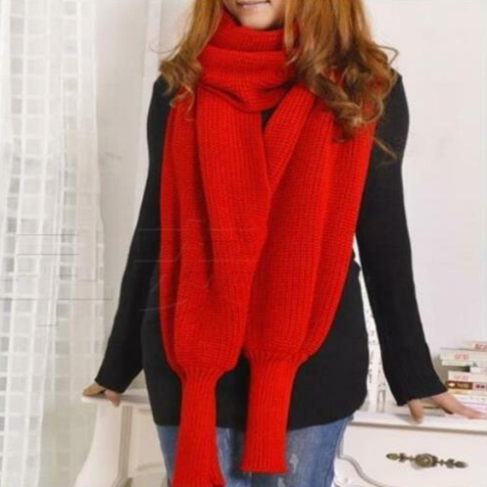 Novelty Unisex Women Knitted Scarf With Sleeves Long Wraps Scarves For Ladies Shawls Stole Men Sweater Scarfs Autumn