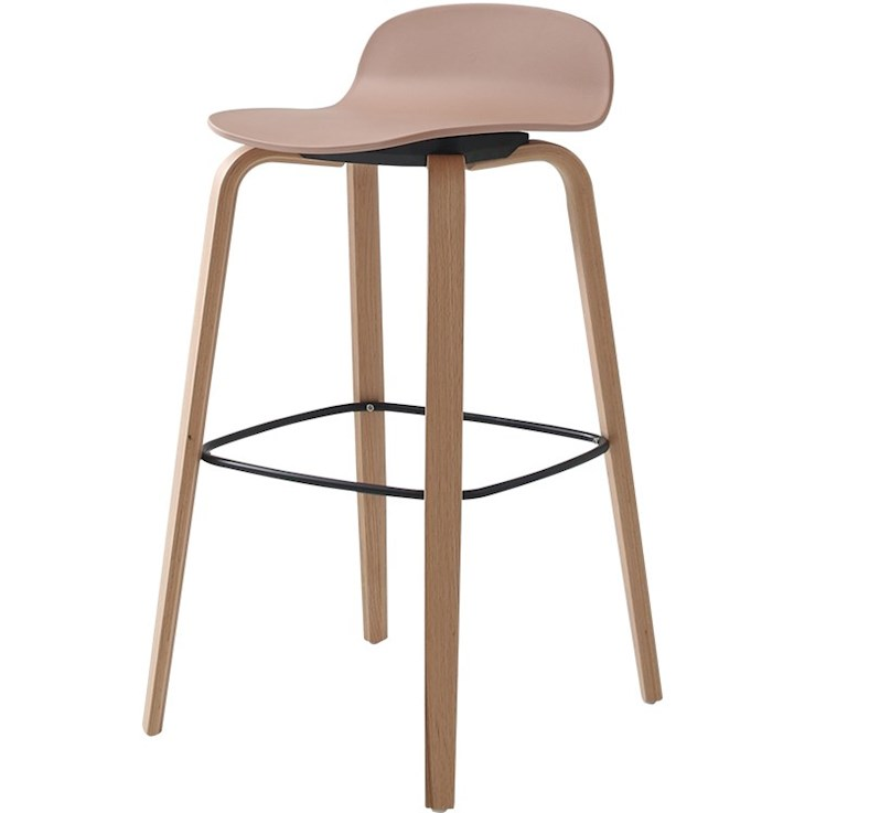 Nordic Contracted And Contemporary Ins Style Solid Wood Leg Model Face Gray Bar Chair Stool At The