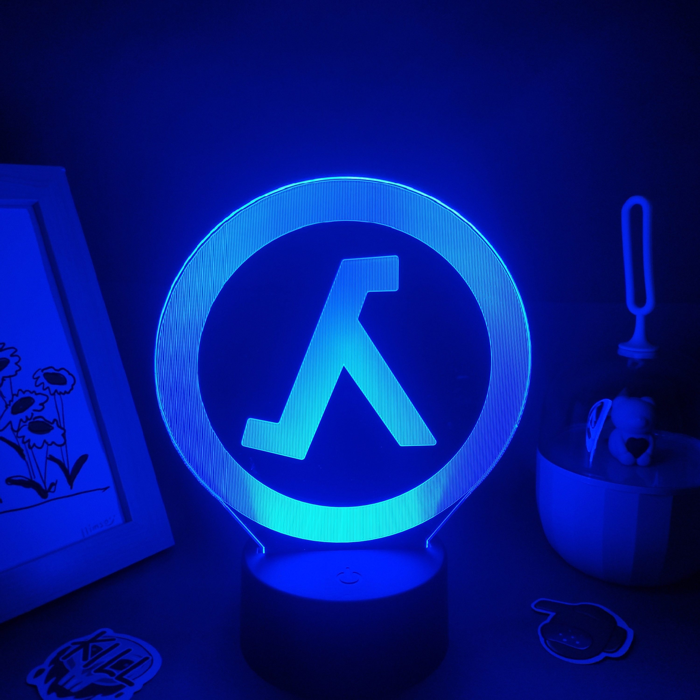 Ha35ec1814f1546bd993602b9fc108a2aI Luminária Half-life valve da lâmpada fps jogo marca logotipo 3d led rgb luzes da noite presente de aniversário colorido para o amigo lava lâmpada quarto cama mesa decoração