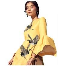 Heißer 2 stücke Boutique Bestickt Tuch Paste Diy Dekorative Kleidung Cheongsam Eisen auf Vogel Patch Muster Aufkleber