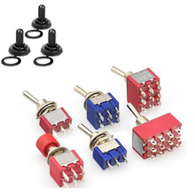 цена на SPDT DPDT  Rocker Switches Lights Motors MTS-102 5A 6A 125V 3A 250 AC Mini 3 6PIN ON-ON ON-OFF-ON Reset Latching Toggle Switch