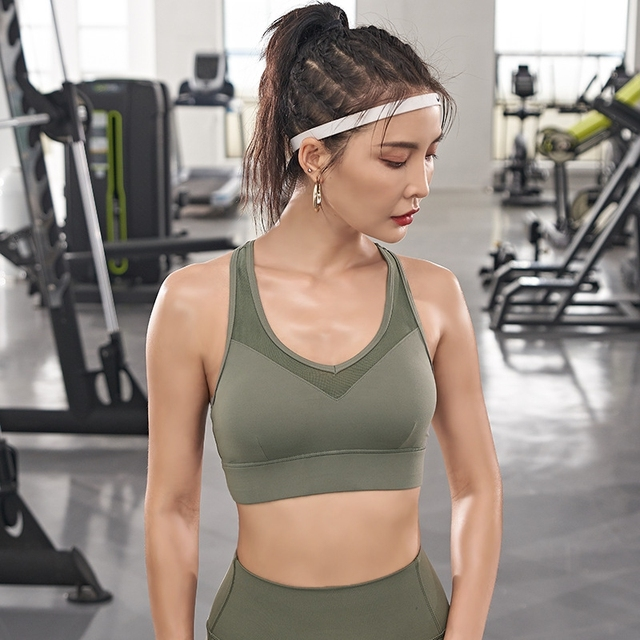 Ladies Sports Seamless Bra Wireless Padded Bralette Workout Yoga Crop Vest