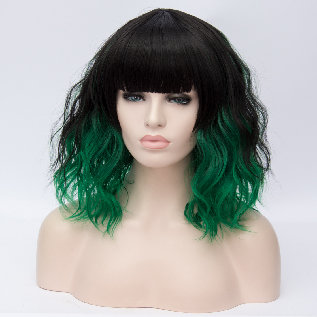 Ha35ed5965d3f4c719c62cf0ac39fe9c3P - Similler Short Synthetic Wig for Women Cosplay Curly Hair Heat Resistance Ombre Color Blue Purple Pink Green Orange Two Tones
