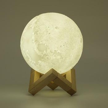 Lámpara LED en forma de luna con impresión 3D, recargable vía USB, luz nocturna con Sensor táctil, luces de mesita de noche, decoración de ambientes
