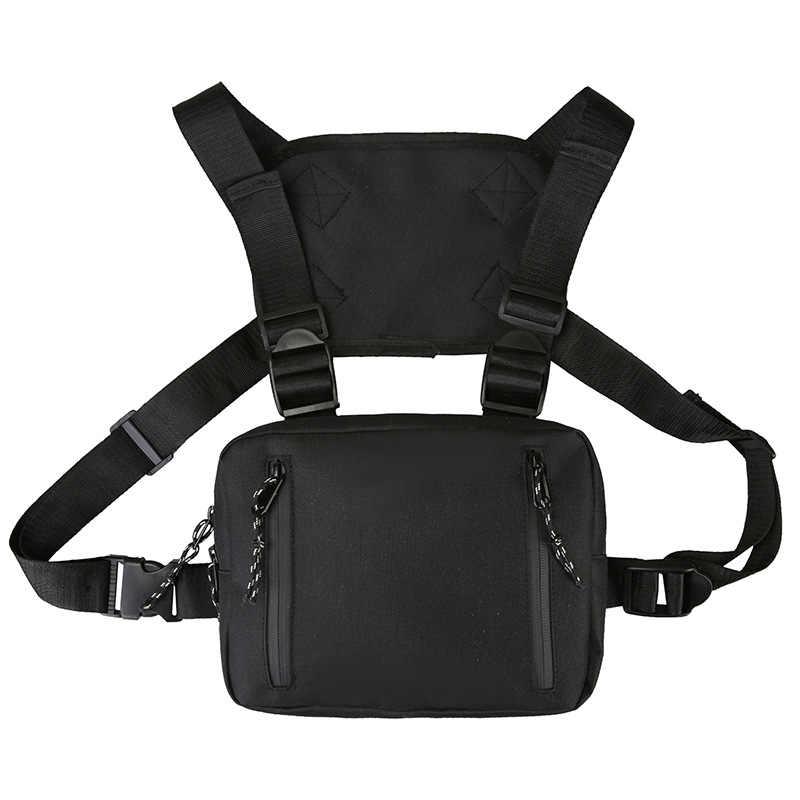 Einstellbare Schwarz Weste Hip Hop Streetwear Funktionale Taktische Harness Brust Rig Kanye West Taille Pack Brust Tasche Mode Nylon