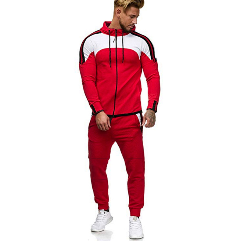 European Size  Long - Sleeve Color Hoodie Stripe Two - Piece Set  Casual  Patchwork  Sweatsuit