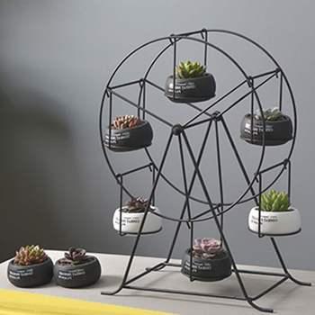 Iron Plant Pot Stand Planter Holder Wheel Vase with Marble Ceramic Flower Pot Shelf Rack European Style Garden Home Decor 1