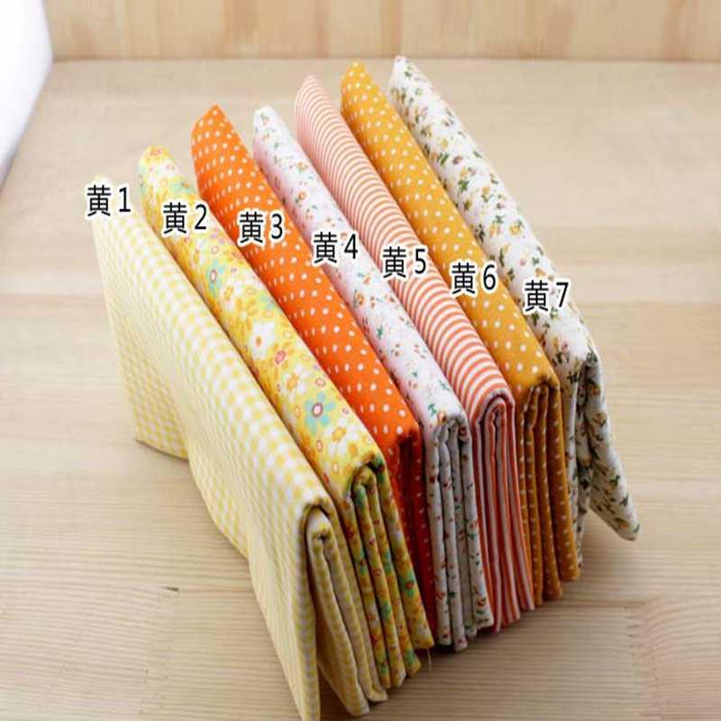 7 のセット綿 100% 50 センチメートルx 50 センチメートルまたは 25 センチメートル × 25 センチメートル黄色の布セット縫製パッチワーク、薄型ティッシュテキスタイル、ハンドメイドdiyの生地