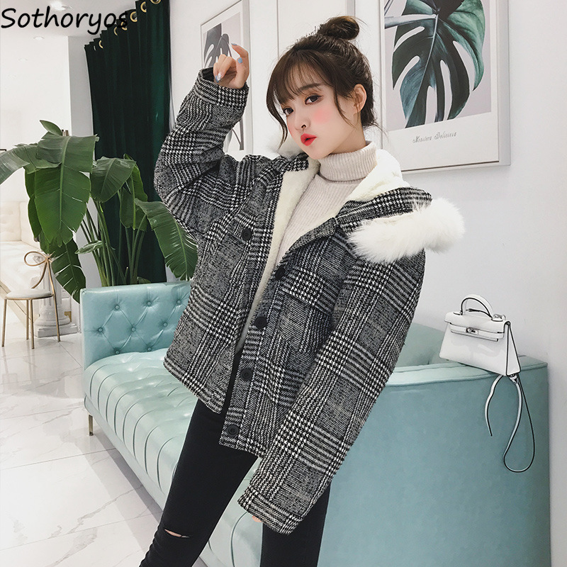 Parkas   for Women Thicker Hooded Plaid Simple All-match Single Breasted Kawaii Coats Womens Lambswool Korean Style Cute Outerwear