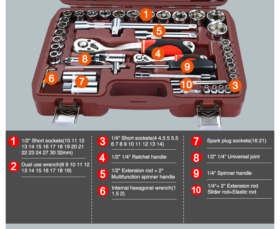 AI-ROAD Household Multifunction Car Repair Tool Kit Home with spinner handle