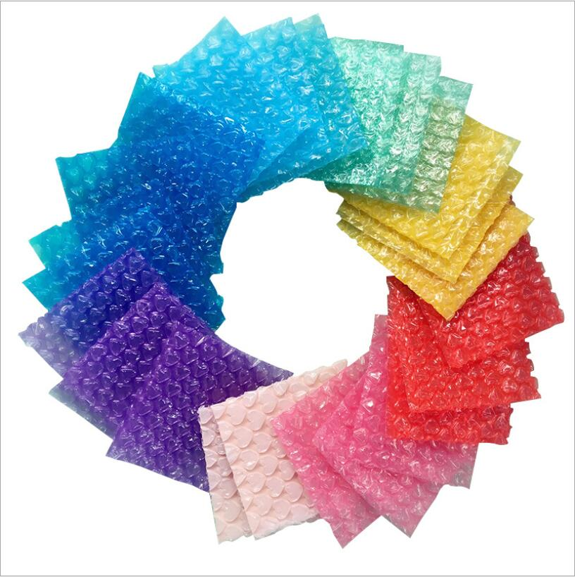 50pcs Square Colored Plastic Bubble Bag Wrap Envelope Mailer Packing Bags Small Jewelry Gift Protective Bag