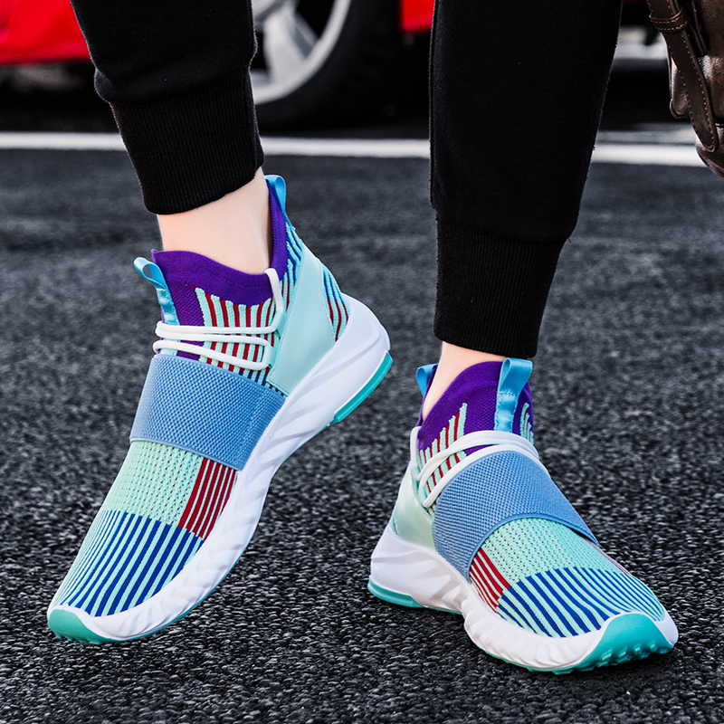 New High Top Socks Sneakers Men Running Shoes Breathable Sock Shoes Mixed Color Sports Boots Jogging Sneaker Man Footwear Spring