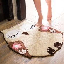 Owl Cartoon-shaped Carpet Doormat Bathroom Rug Anti-slip Mat into Door Bedroom Kitchen Push-and-pull Latex Floor