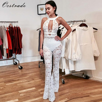 2017 New Arrival Summer Hollow Out Sexy White Wide Leg Elegant Lace Jumpsuit for Women
