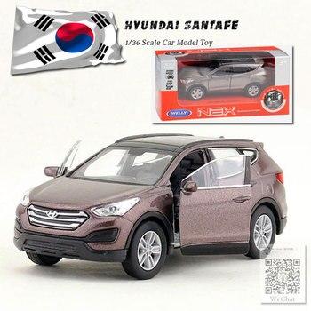 WELLY 1/36 skala Hyundai Santafe odlewany Metal samochód z napędem Pull Back zabawkowy Model do kolekcji, prezent dla dzieci, dzieci