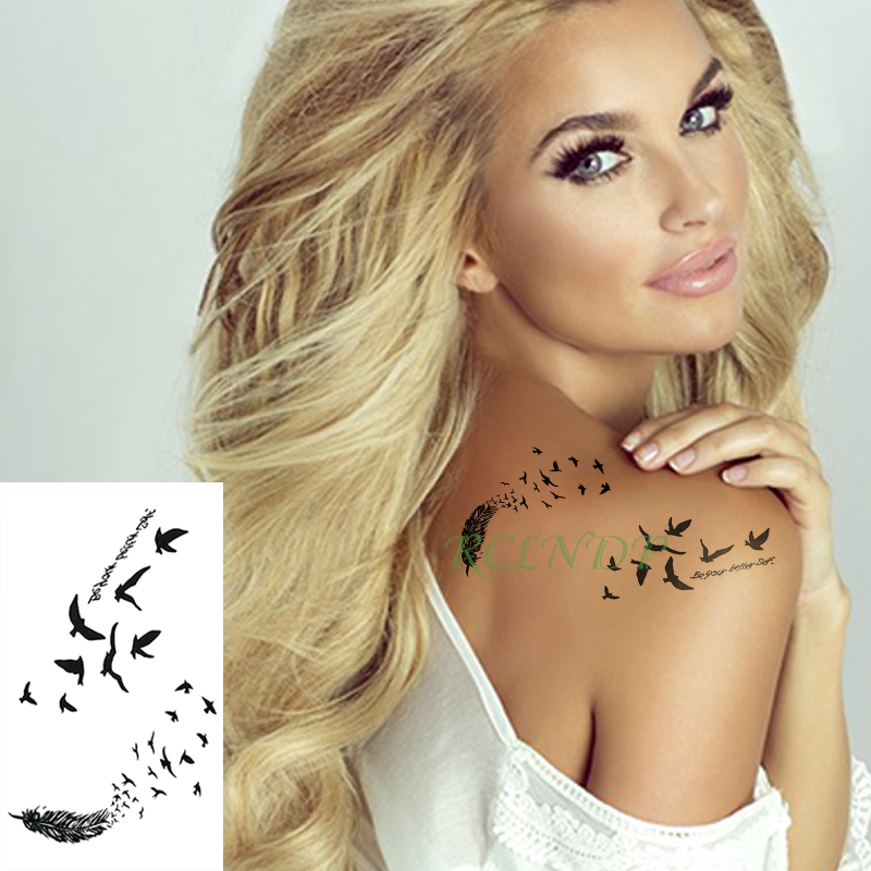 Waterproof Temporary Tattoo Sticker Feather Fly Bird Flash Tatoo Fake Tatto Arm Leg Wrist Foot Hand Shoulder For Girl Men Women