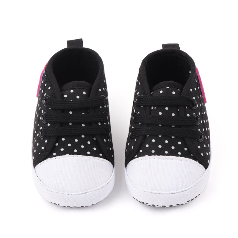 1Pair Baby Boy Girl Spring And Autumn Dot And Flower Print Pattern Baby Shoes Anti-slip Soft Bottom Toddler Shoes