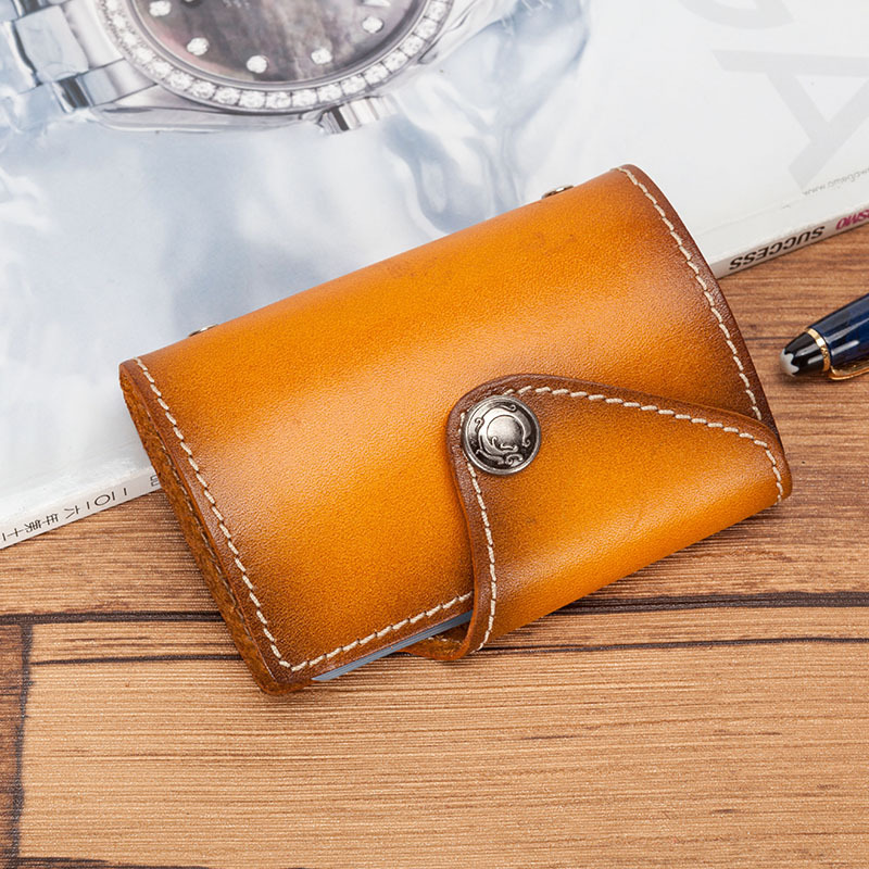 Vintage Hasp Genuine Leather Card Id Holders Bussiness Credit Card Wallet Men Hand Stitching Cardholder