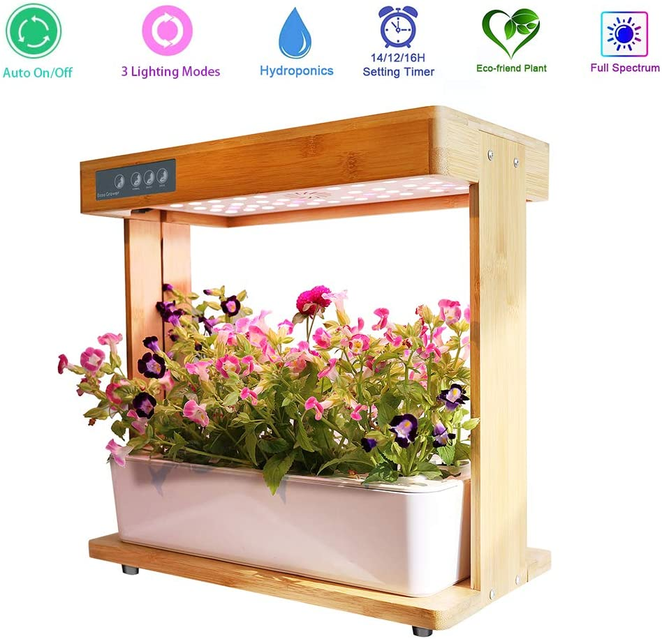 Hydroponics System With Grow Light Pump 8pots High Tec & Natural Bamboo With Grow Light  Indoor Come With Plant Food&sponge