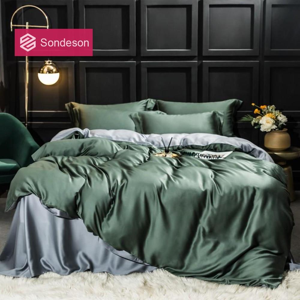 Sondeson Luxury 100% Silk Beauty Bedding Set 25 Momme Silk Duvet Cover Set Flat Sheet Bed Linen Pillowcase For Home Bed Set 4pcs