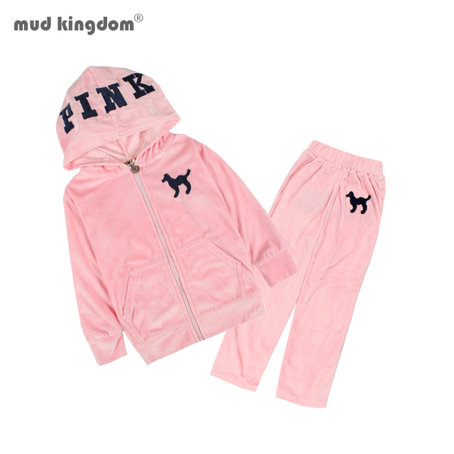 MudkingdomToddler Girl Outfits  Kids Hooded Top Velvet Casual Sports Suit 2 Pcs Autumn Outfits 1