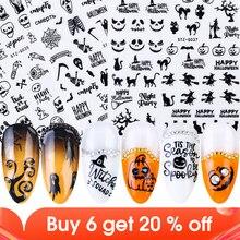 1 Pcs 3D Zwart Halloween Nail Sticker Russische Letters Pompoen Vleermuis Ghost Skull Horror Decals Manicure Decoratie JISTZ G032 040 2