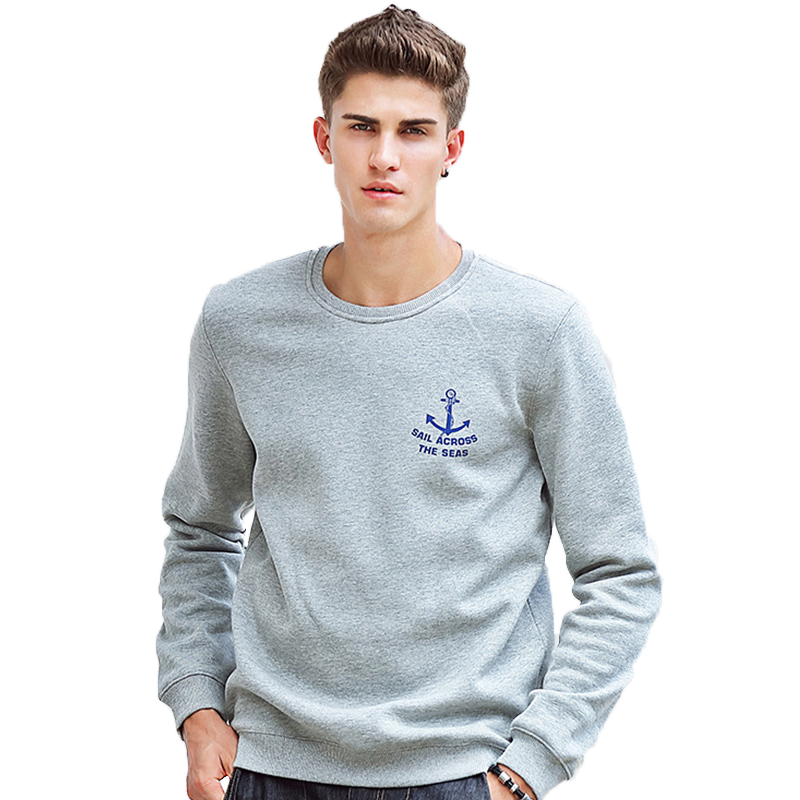 Pioneer Camp Hoodies Men Autumn Winter Thick Fleece Warm Casual 100% Cotton Crew Neck Dark Blue Sweatshirt For Teen 405102