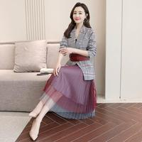 New 2019 Fashion Women Plaid Blazer Mesh Pleated Skirt Suit Lace Ladies Red Formal Blazer Jacket Skirt Set